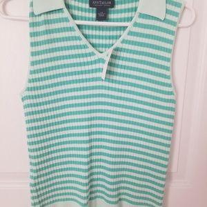Ann Taylor mint/aqua  striped top